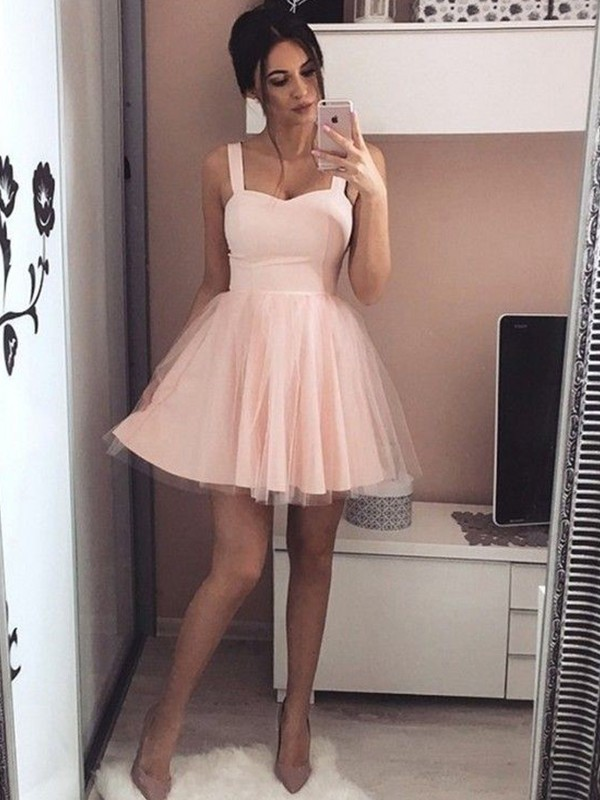 A-Line Satin Straps Sleeveless Short/Mini Dress