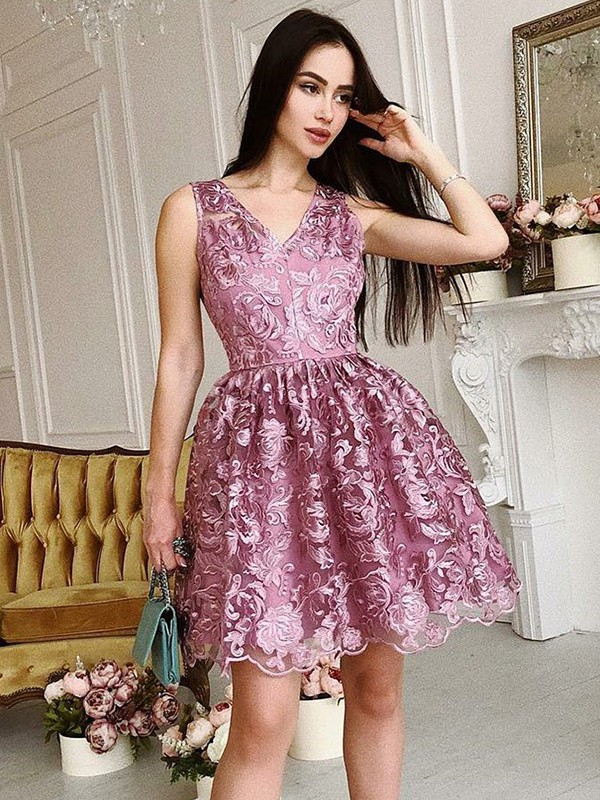 A-Line V-Neck Sleeveless Organza Short/Mini Dress
