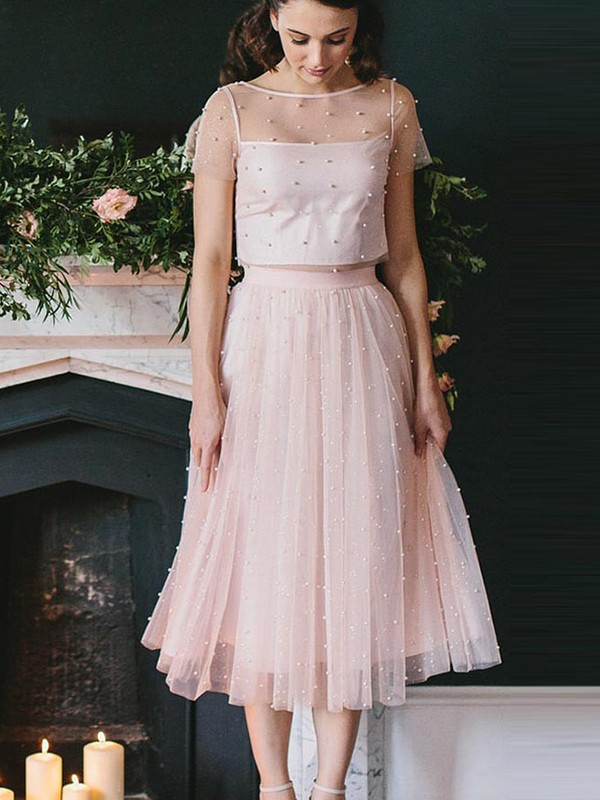 A-Line Tulle Short Sleeves Scoop Tea-Length Two Piece Dress