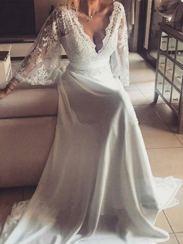 A-Line V-neck Long Sleeves Court Train Lace Wedding Dress