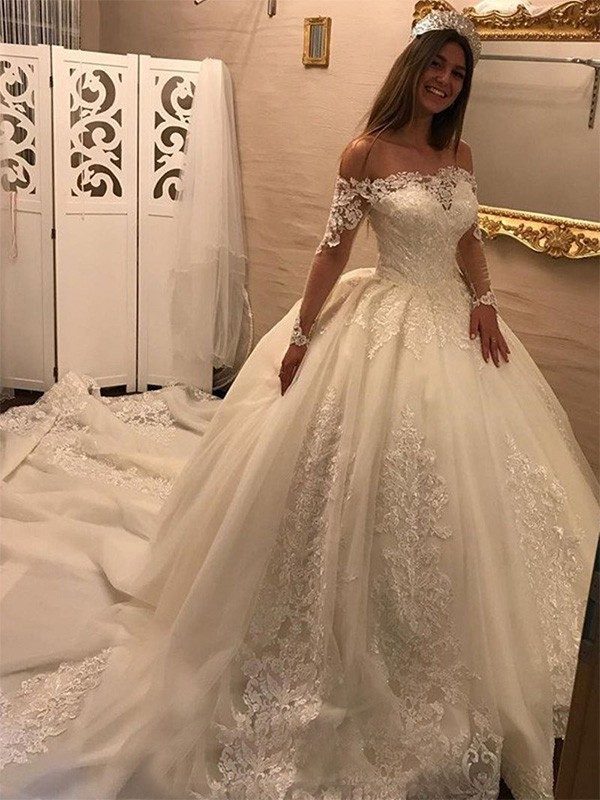 Ball Gown Off-the-Shoulder Long Sleeves Cathedral Train Tulle Wedding Dress