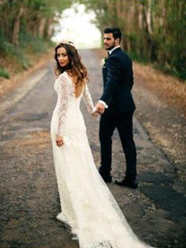 Sheath Long Sleeves V-neck Court Train Lace Wedding Dress