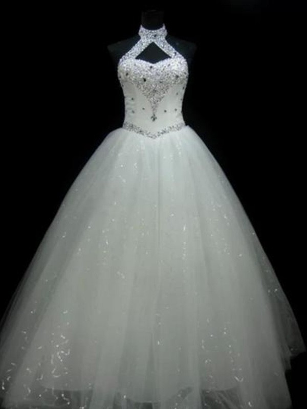 Ball Gown Halter Sleeveless Floor-Length Sequin Tulle Wedding Dress