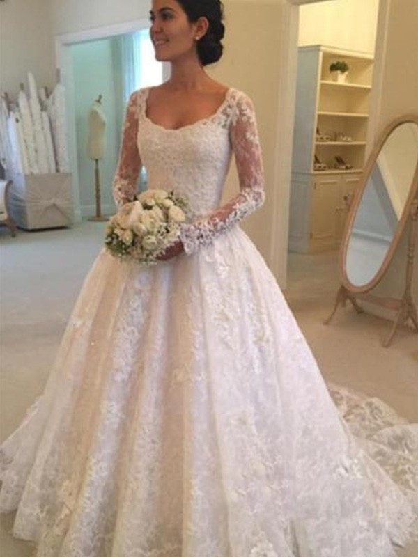 Ball Gown Long Sleeves Scoop Cathedral Train Lace Wedding Dress