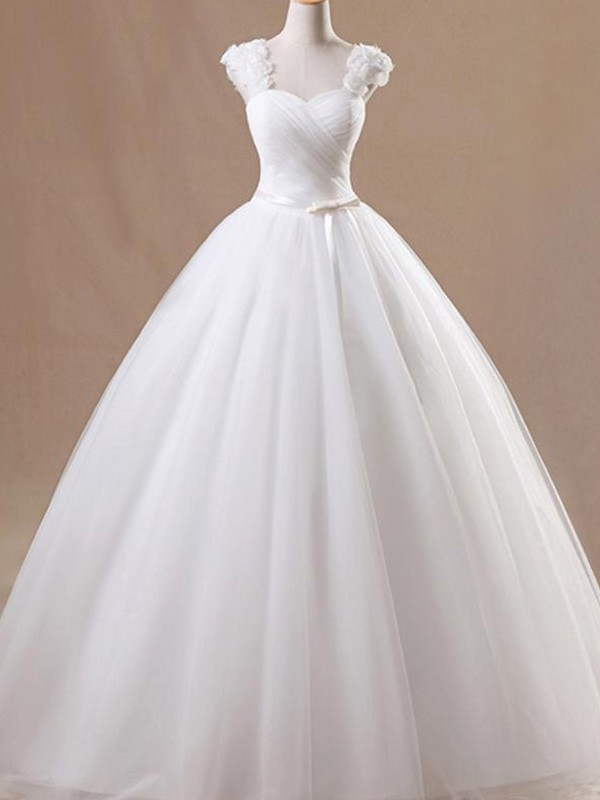 Ball Gown Sleeveless Square Floor-Length Tulle Wedding Dress