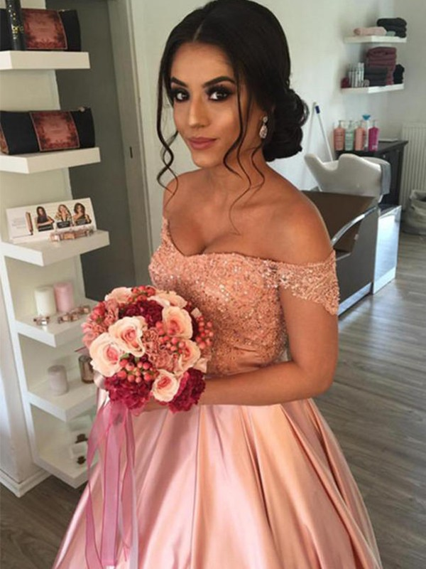 Ball Gown Sleeveless Off-the-Shoulder Satin Cathedral Train Wedding Dress
