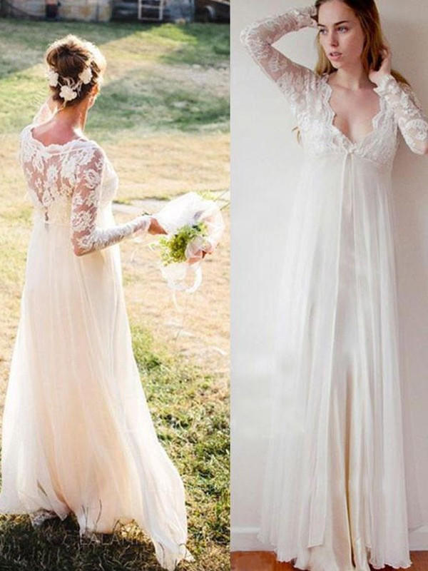 Empire V-neck Chiffon Lace Long Sleeves Floor-Length Wedding Dress