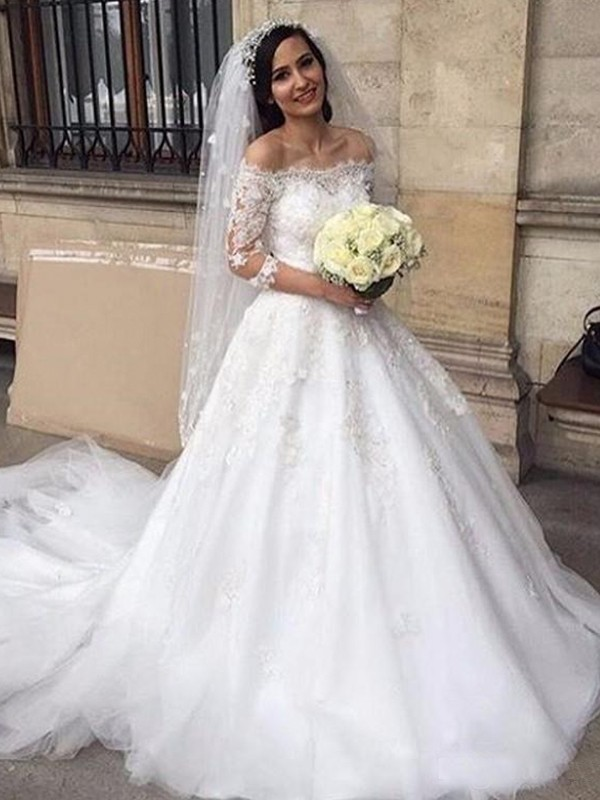 Ball Gown Tulle Off-the-Shoulder 3/4 Sleeves Chapel Train Wedding Dress