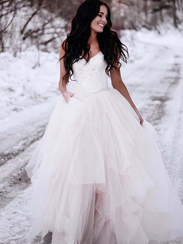 A-Line Tulle V-neck Sleeveless Floor-Length Wedding Dress