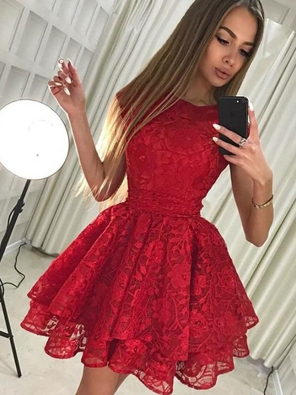 A-Line Scoop Lace Short Dress