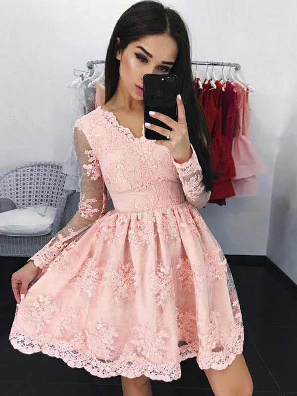 A-Line Lace Long Sleeves V-neck Short Dress