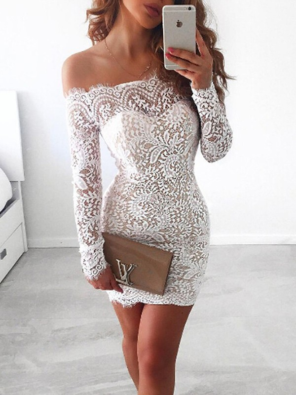 Sheath Long Sleeves Off-the-Shoulder Lace Short Dress