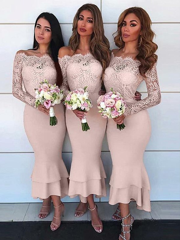 Sheath/Column Ankle-Length Long Sleeves Chiffon Off-the-Shoulder Lace Bridesmaid Dresses