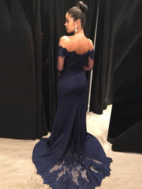 Trumpet/Mermaid Sweep/Brush Train Long Sleeves Satin Off-the-Shoulder Lace Prom Dresses