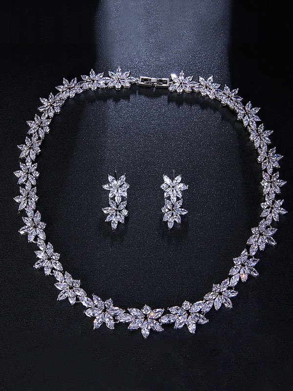 Wedding Occident Brilliant Alloy With Flowers Bridal Jewelry Set