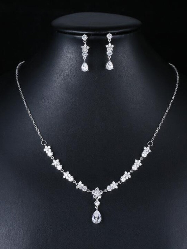 Fashion Wedding Occident Zircon Bridal Jewelry Set