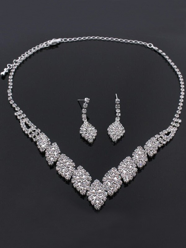 Rhinestone Wedding Bridal Unique Jewelry Set