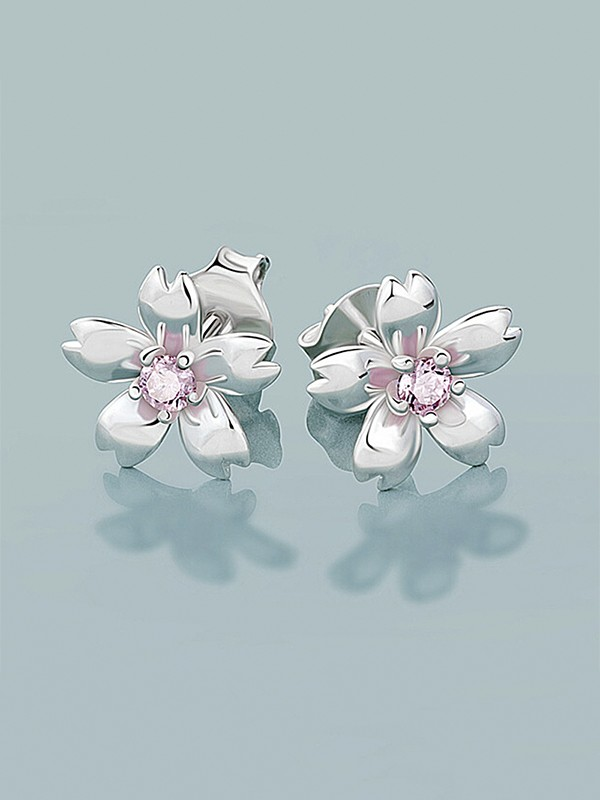 Women's New 925 Sterling Silver With Flowers Earrings