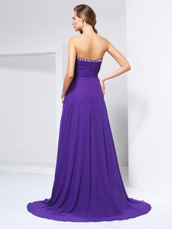A-Line/Princess Sweetheart Sleeveless Beading Ruched Long Chiffon Dresses