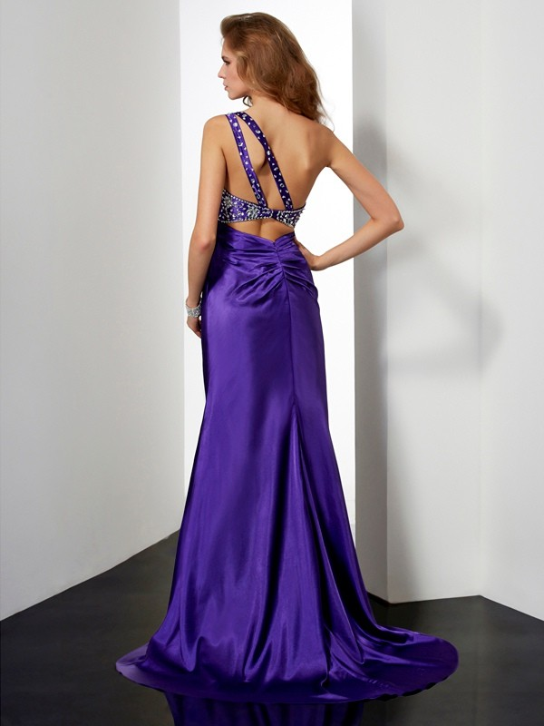 Sheath/Column Beading One-Shoulder Long Elastic Woven Satin Dresses