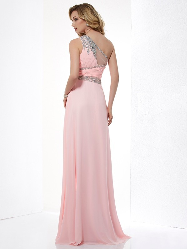 A-Line/Princess One-Shoulder Sleeveless Beading Chiffon Long Dresses