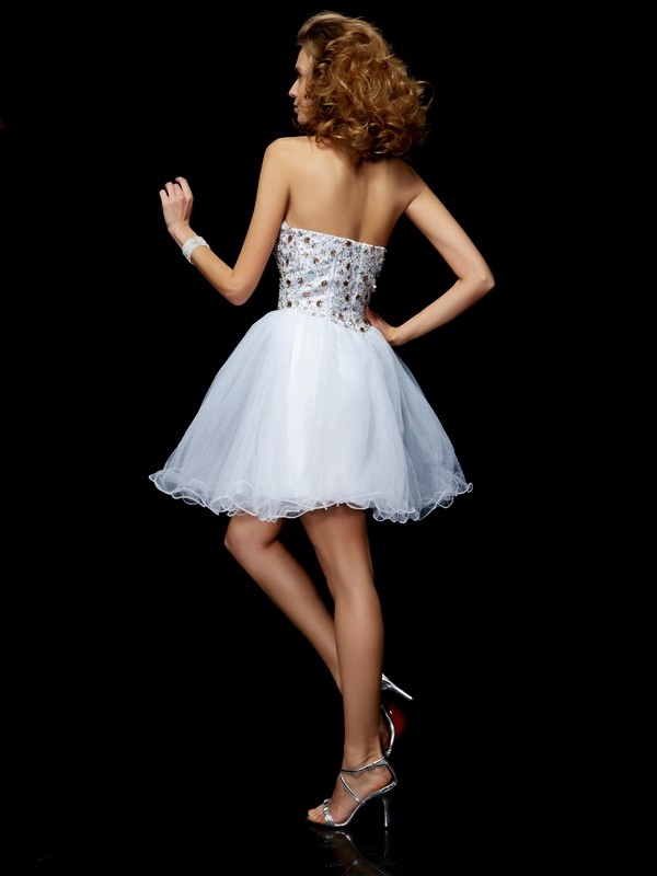 Sheath/Column Sweetheart Sleeveless Crystal Short Elastic Woven Satin Dresses