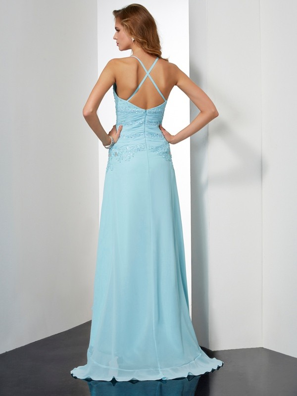 A-Line/Princess Spaghetti Straps Sleeveless Beading Crystal High Low Chiffon Dresses