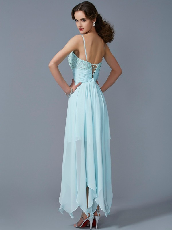 A-Line/Princess Spaghetti Straps Sleeveless Beading High Low Chiffon Dresses