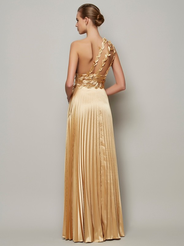 A-Line/Princess One-Shoulder Sleeveless Hand-Made Flower Long Elastic Woven Satin Dresses