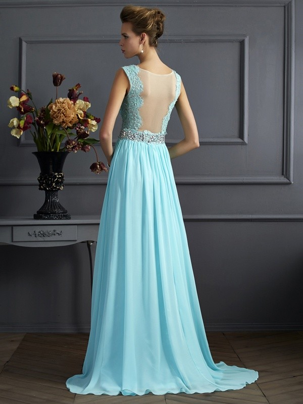 A-Line/Princess Straps Sleeveless Beading Lace Long Chiffon Dresses