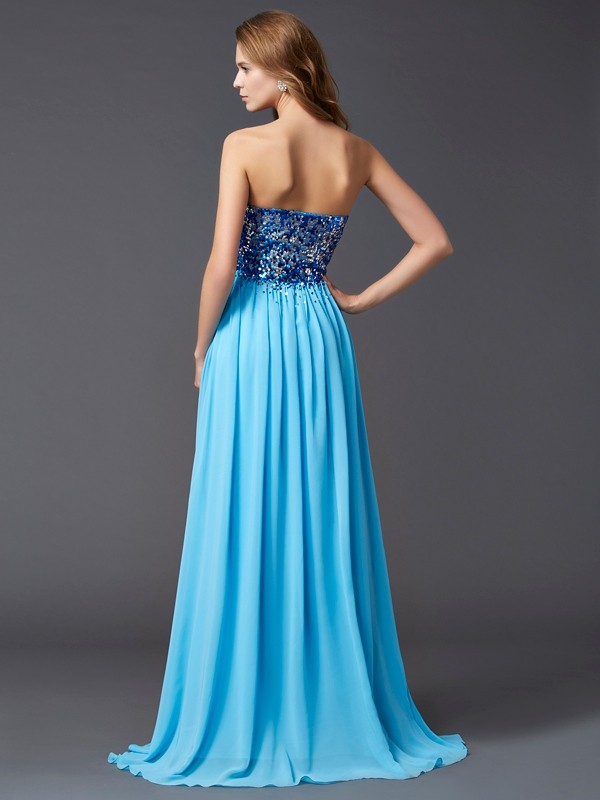 A-Line/Princess Sweetheart Sleeveless Paillette Long Chiffon Dresses