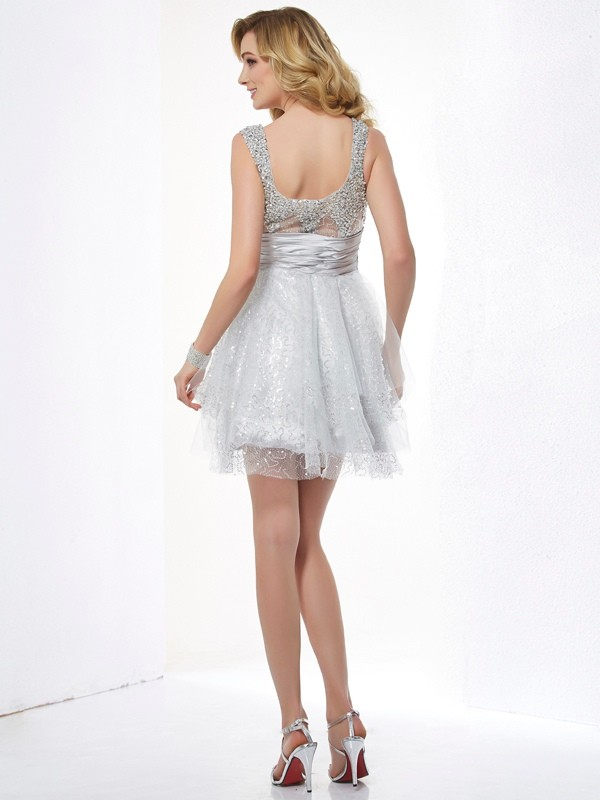 A-Line/Princess Straps Sleeveless Beading Short Elastic Woven Satin Dresses