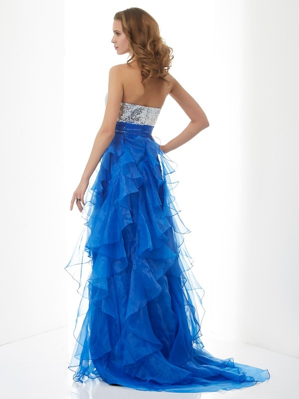 A-Line/Princess Sweetheart Sleeveless Paillette Long Satin Dresses