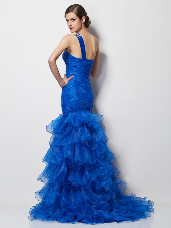 Trumpet/Mermaid One-Shoulder Sleeveless Pleats Long Tulle Dresses
