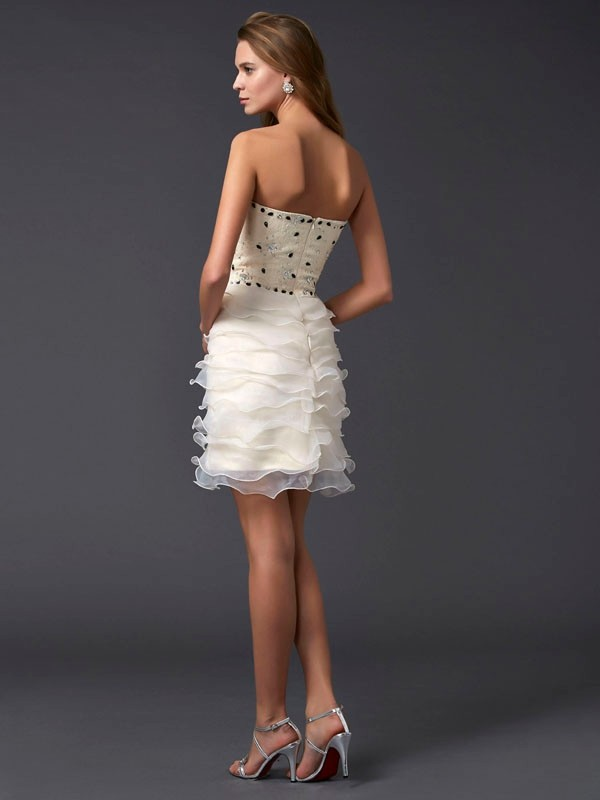 Sheath/Column Strapless Sleeveless Beading Short Tulle Dresses