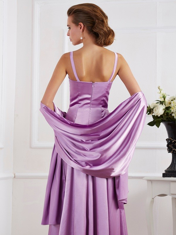 A-Line/Princess Spaghetti Straps Sleeveless Beading Long Elastic Woven Satin Mother of the Bride Dresses