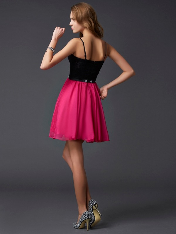 A-Line/Princess Spaghetti Straps Sleeveless Short Chiffon Dresses