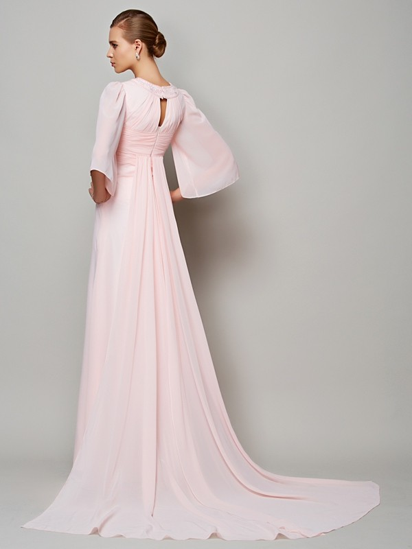 A-Line/Princess High Neck 1/2 Sleeves Beading Long Chiffon Mother of the Bride Dresses