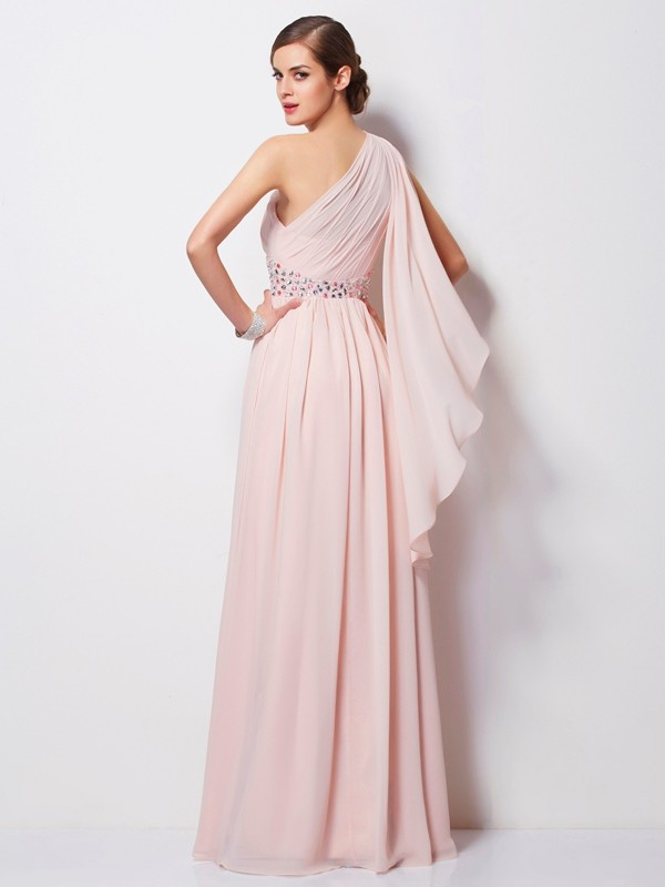 Sheath/Column One-Shoulder Sleeveless Beading Long Chiffon Dresses