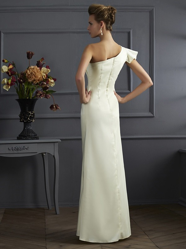 Sheath/Column One-Shoulder Sleeveless Pleats Long Elastic Woven Satin Bridesmaid Dresses