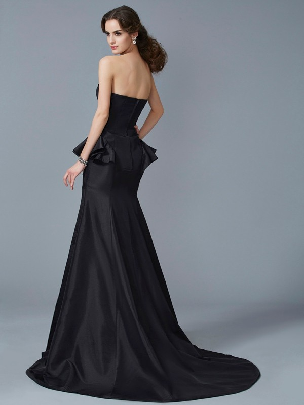 Trumpet/Mermaid Strapless Sleeveless Ruffles Long Taffeta Dresses