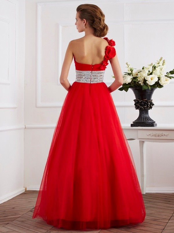 Ball Gown One-Shoulder Sleeveless Hand-Made Flower Long Net Quinceanera Dresses