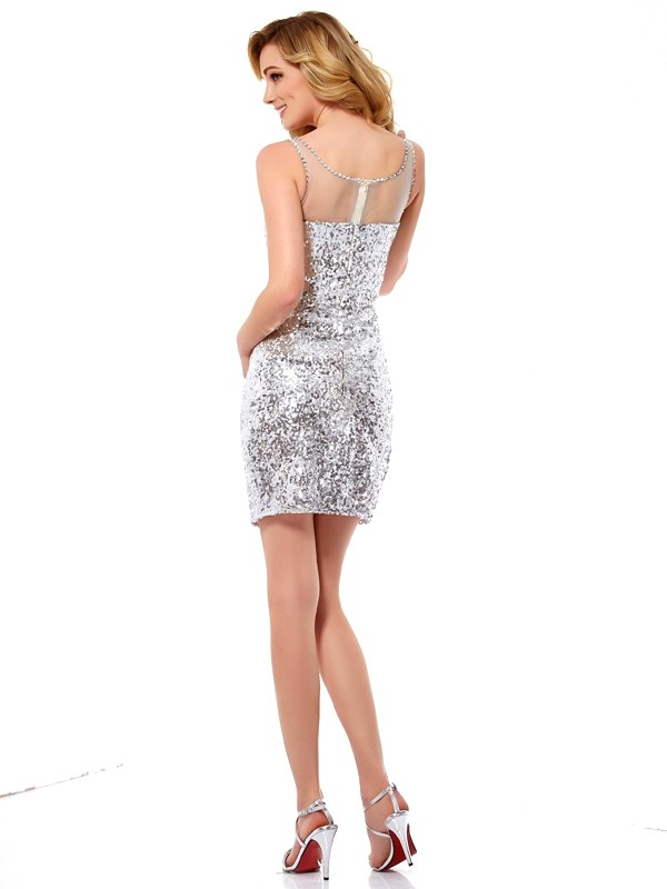 Sheath/Column Scoop Sleeveless Lace Short Sequins Dresses