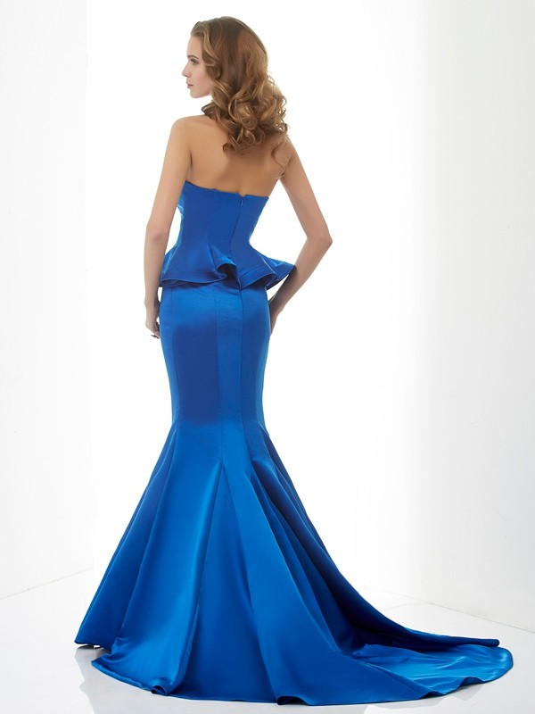 Trumpet/Mermaid Sweetheart Sleeveless Long Satin Bridesmaid Dresses