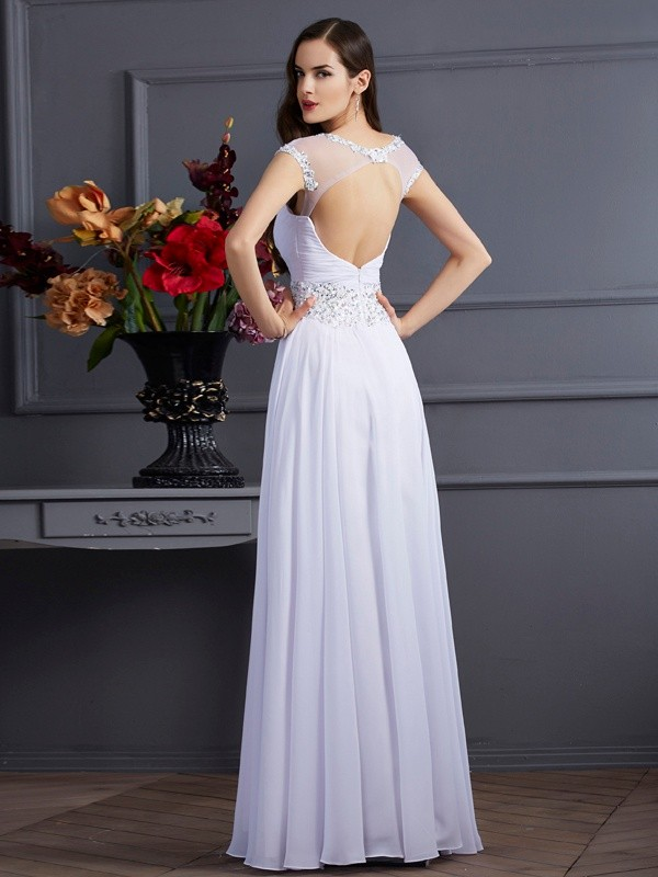 A-Line/Princess Bateau Short Sleeves Beading Long Chiffon Dresses