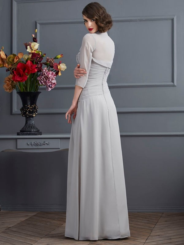 A-Line/Princess One-Shoulder Sleeveless Beading Long Chiffon Mother of the Bride Dresses