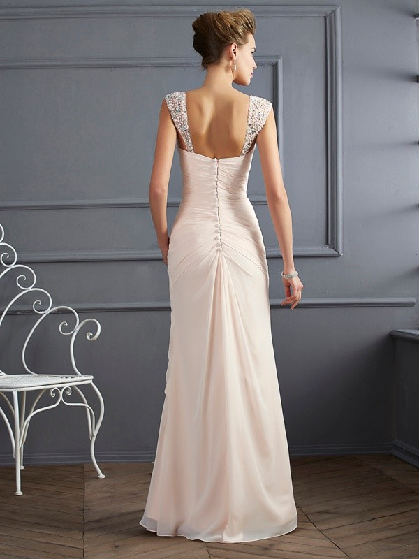 Sheath/Column Straps Sleeveless Beading Long Chiffon Dresses