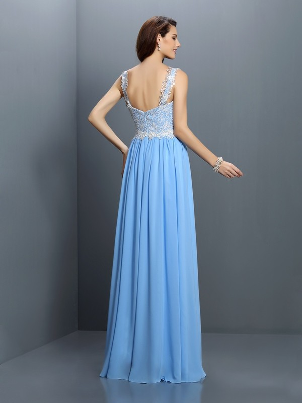 A-Line/Princess V-neck Lace Sleeveless Long Chiffon Bridesmaid Dresses