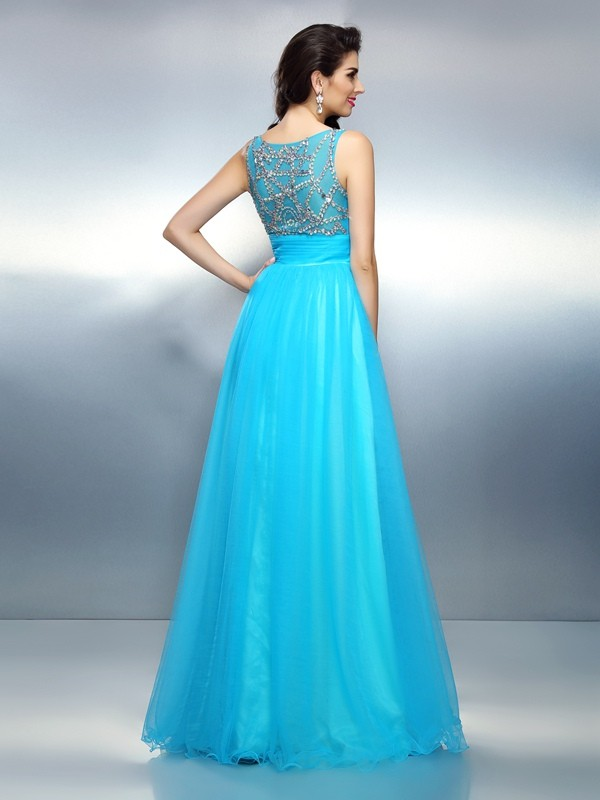 A-Line/Princess Bateau Beading Sleeveless Long Elastic Woven Satin Dresses