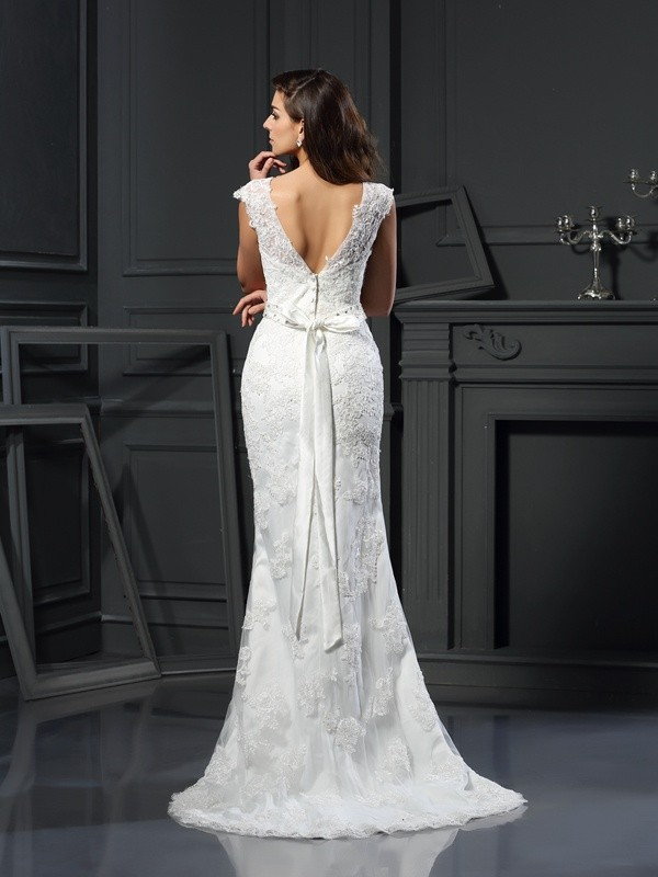 A-Line/Princess Bateau Lace Sleeveless Long Satin Wedding Dresses